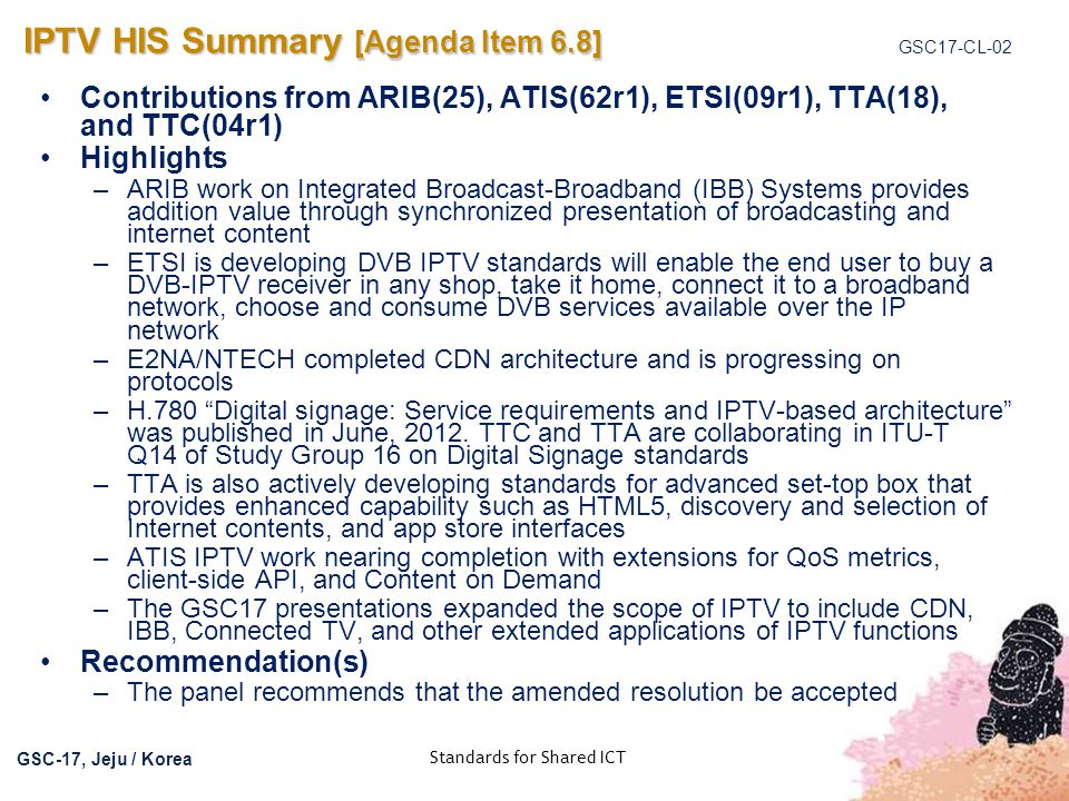 IPTV HIS Summary [Agenda Item 6.8]